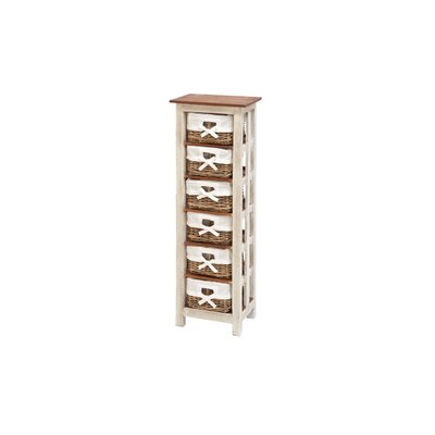 6 Drawer Solid Wood Rattan Accent Chest