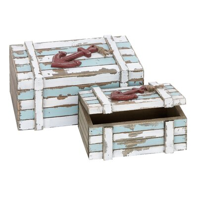 Woodland Imports 2 Piece Wood Box Nautical Maritime Decor Set