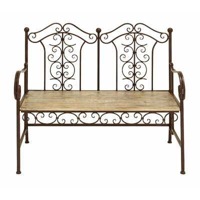 Woodland Imports Wood and Metal Garden Bench