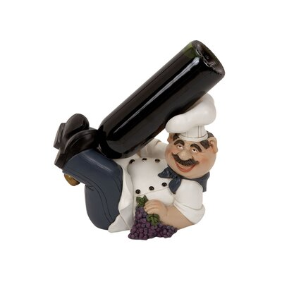 Woodland Imports Polystone Chef 1 Bottle Tabletop Wine Rack