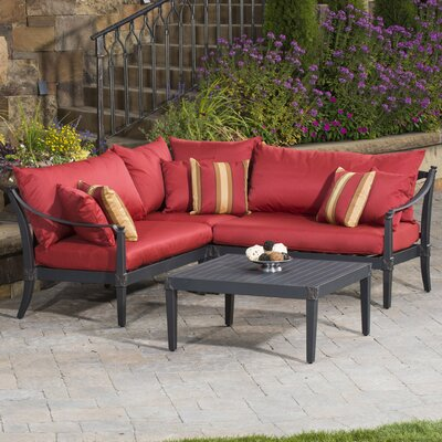 RST Brands Astoria 4 Piece Corner Sectional and Conversation Table Seating Group with Cushions