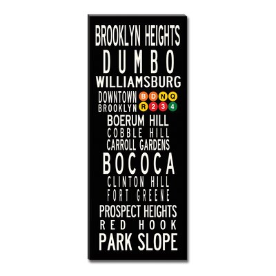 Uptown Artworks Brooklyn Neighbordhoods by Uptown Artworks Framed Textual Art on Wrapped Canvas