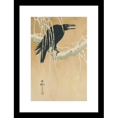Buyenlarge Blackbird in Snow Framed Painting Print
