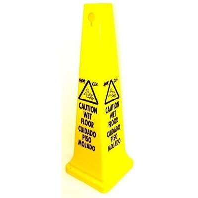 Tall Caution Sign Cone in English and French