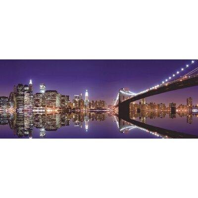 Artland Wandbild New York Skyline und nächtliche Reflexion von Liu, Mike - 50 x 125 cm