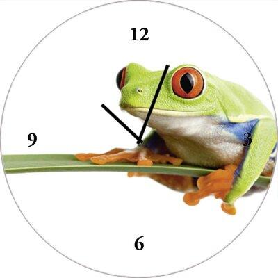 Artland Analoge Wanduhr Frosch auf einem Blatt 35 cm