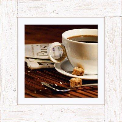 Artland Wandbild Kaffeetasse und Zeitung von Sandralise - 50,4 x 50,4 cm