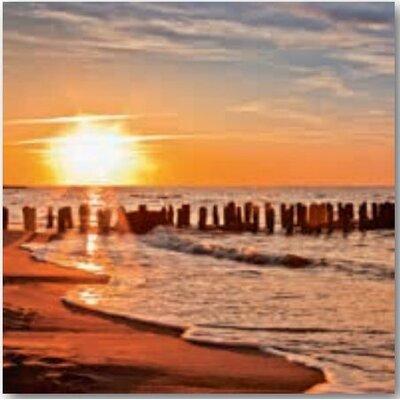 Artland Wandbild Schöner Sonnenuntergang am Strand von Decoret, Sebastien