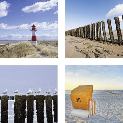 Artland 4-tlg. Leinwandbild-Set Strand Kunstdruck