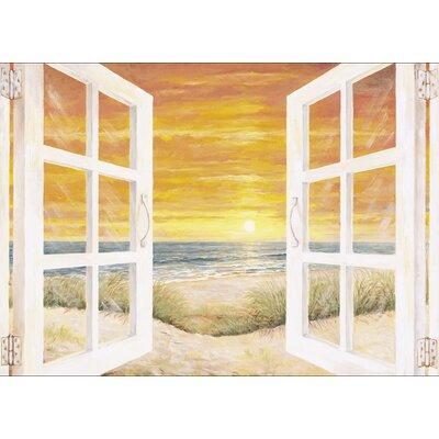 Artland Leinwanddruck Fenster zum Meer Kunstdruck von Andres in Crème