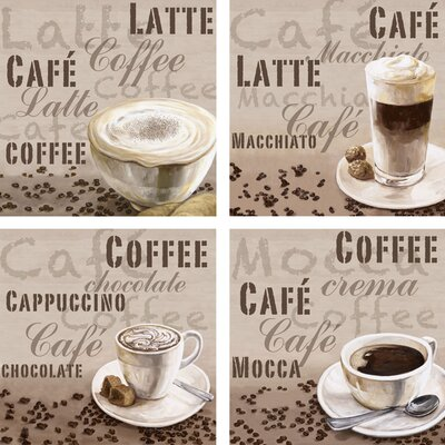 Artland Leinwandbilder-Set Latte, Café, Chocolate, Mocca von Jule