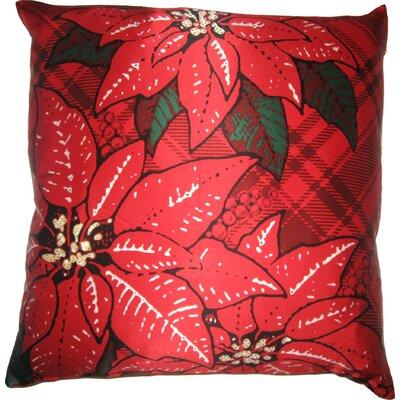 Filos Design Holiday Elegance Poinsettia Silk Throw Pillow