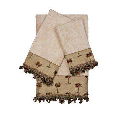 Tropicana Embellished 3 Piece 100% Cotton Towel Set Color: Beige