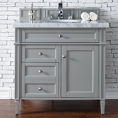 "Deleon 36"" Single Urban Gray Granite Top Bathroom Vanity Set Top Thickness: 2cm"