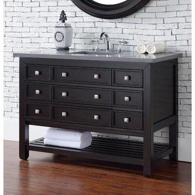 "Kramer 48"" Single Cerused Espresso Oak Wood Base Bathroom Vanity Set with Drawers"