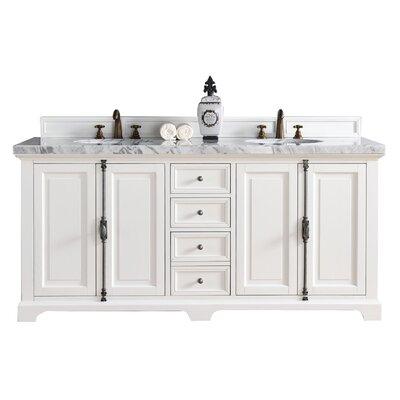 """Durst 72"""" Double Bathroom Vanity Set Top Finish: Carrara White, Base Finish: Cottage White"""