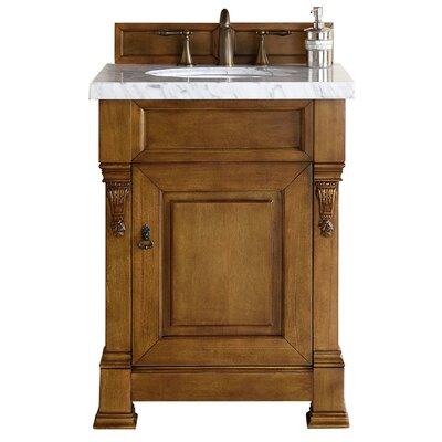 "Bedrock 26"" Single Bathroom Vanity Set Top Finish: Carrara White, Base Finish: Country Oak"