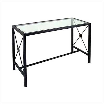 Large Console Table Base Finish: Aged Iron, Side Panel: Gothic