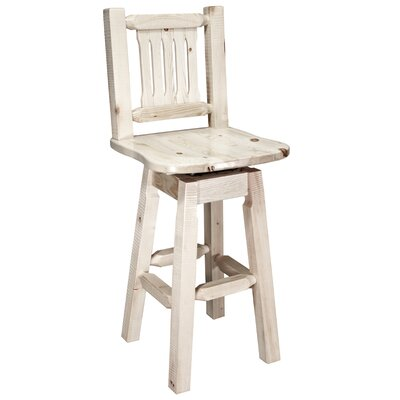 "Katlyn 30"" Rustic Swivel Bar Stool Finish: Lacquered"
