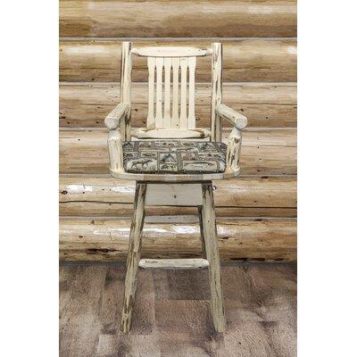 """Abordale 30"""" Wood Legs Swivel Bar Stool Upholstery: Wildlife, Finish: Ready to Finish"""