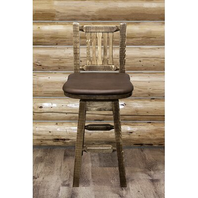 "Katlyn 30"" Swivel Bar Stool Upholstery: Saddle, Finish: Stain and Lacquer"