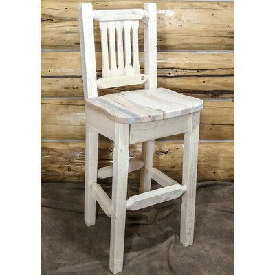 "Katlyn 30"" Square Bar Stool Finish: Clear Lacquer Finish"