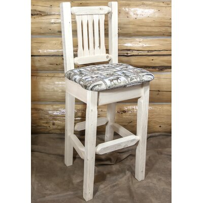 "Katlyn 30"" Wood Bar Stool Upholstery: Saddle, Finish: Ready to Finish"
