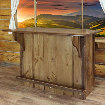 Katlyn Bar with Foot Rail Color: Stained and Lacquered