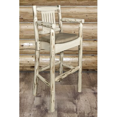 "Katlyn 30"" Solid Wood Bar Stool Upholstery: Buckskin, Finish: Clear Lacquer"