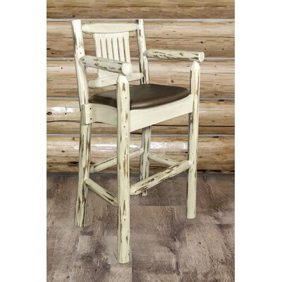 "Katlyn 30"" Solid Wood Bar Stool Upholstery: Saddle, Finish: Clear Lacquer"