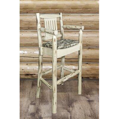"Katlyn 30"" Solid Wood Bar Stool Upholstery: Wildlife, Finish: Ready to Finish"
