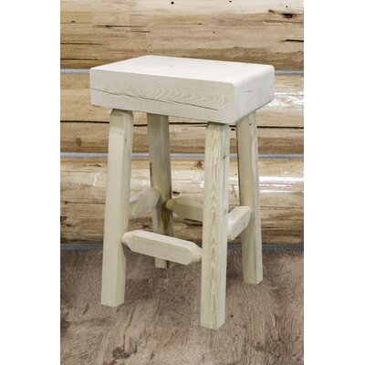 "Katlyn 24"" Square Bar Stool Finish: Clear Lacquer Finish"