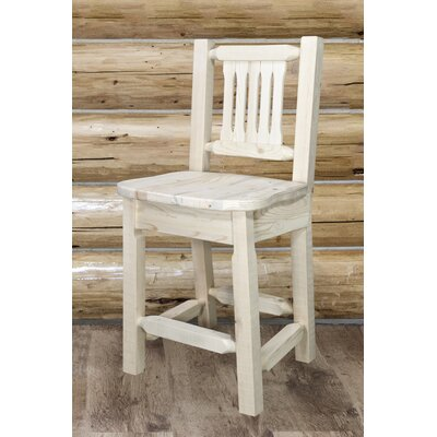 "Katlyn 24"" Wood Bar Stool Finish: Clear Lacquer Finish"