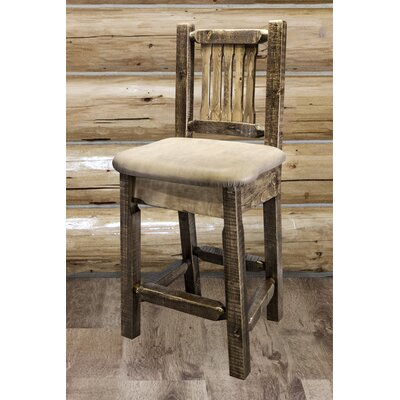 "Katlyn 24"" Bar Stool Finish: Stain and Lacquer, Upholstery: Buckskin"