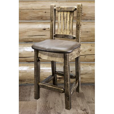 "Katlyn 24"" Bar Stool Finish: Stain and Lacquer, Upholstery: Saddle"