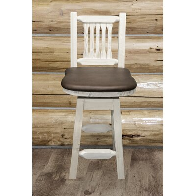 "Katlyn 24"" Rustic Bar Stool Finish: Clear Lacquer, Upholstery: Wildlife"