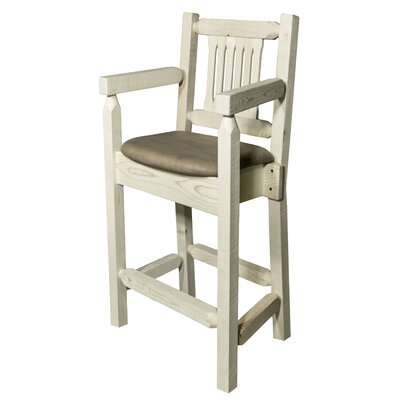 "Katlyn 24"" Square Bar Stool Finish: Ready to Finish, Upholstery: Buckskin"