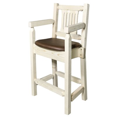 "Katlyn 24"" Square Bar Stool Finish: Ready to Finish, Upholstery: Saddle"