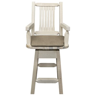 "Katlyn 24"" Rectangle Swivel Bar Stool Finish: Ready to Finish, Upholstery: Buckskin"
