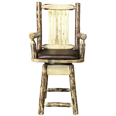 """Tustin 24"""" Swivel Bar Stool with Cushion Upholstery: Saddle"""