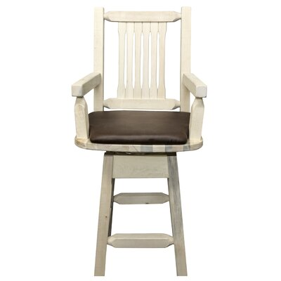 "Katlyn 24"" Rectangle Swivel Bar Stool Finish: Ready to Finish, Upholstery: Saddle"