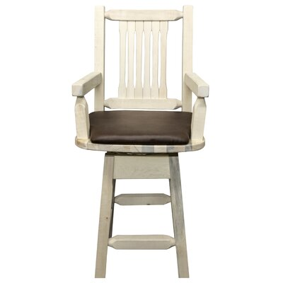 """Katlyn 24"""" Rectangle Swivel Bar Stool Finish: Clear Lacquer, Upholstery: Saddle"""