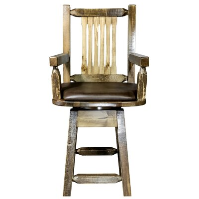"""Katlyn 24"""" Rectangle Swivel Bar Stool Finish: Stain and Lacquer, Upholstery: Saddle"""