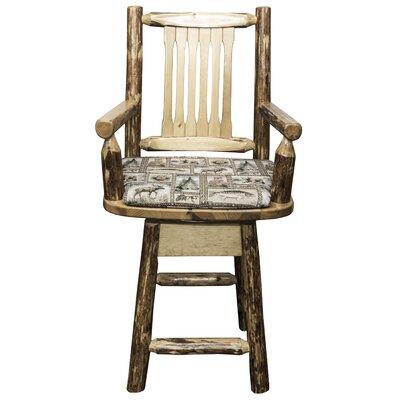 "Tustin 24"" Swivel Bar Stool with Cushion Upholstery: Wildlife"