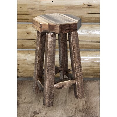 "Katlyn 24"" Round Bar Stool Finish: Clear Lacquer"