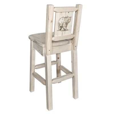 "Haleigh 30"" Barstool with Back and Laser Engraved Bear Design Color: Natural/Clear Lacquer"
