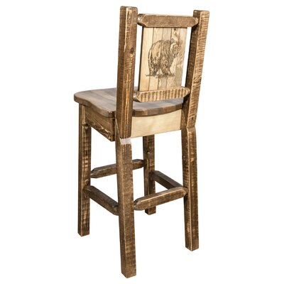 "Haleigh 30"" Barstool with Back and Laser Engraved Bear Design Color: Brown"
