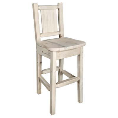 "Katlyn Pine 24"" Bar Stool Color: Natural with Clear Lacquer"