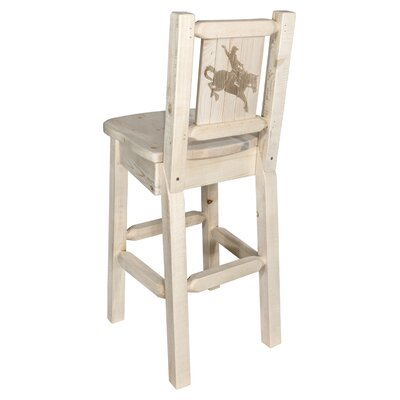 "Haleigh 30"" Barstool with Back and Laser Engraved Bronc Design Color: Natural/Clear Lacquer"