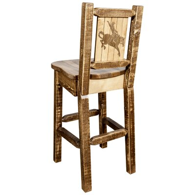 "Haleigh 30"" Barstool with Back and Laser Engraved Bronc Design Color: Brown"